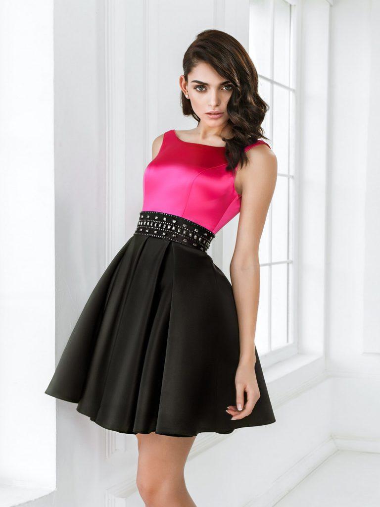 Черно-розовое платье на выпускной