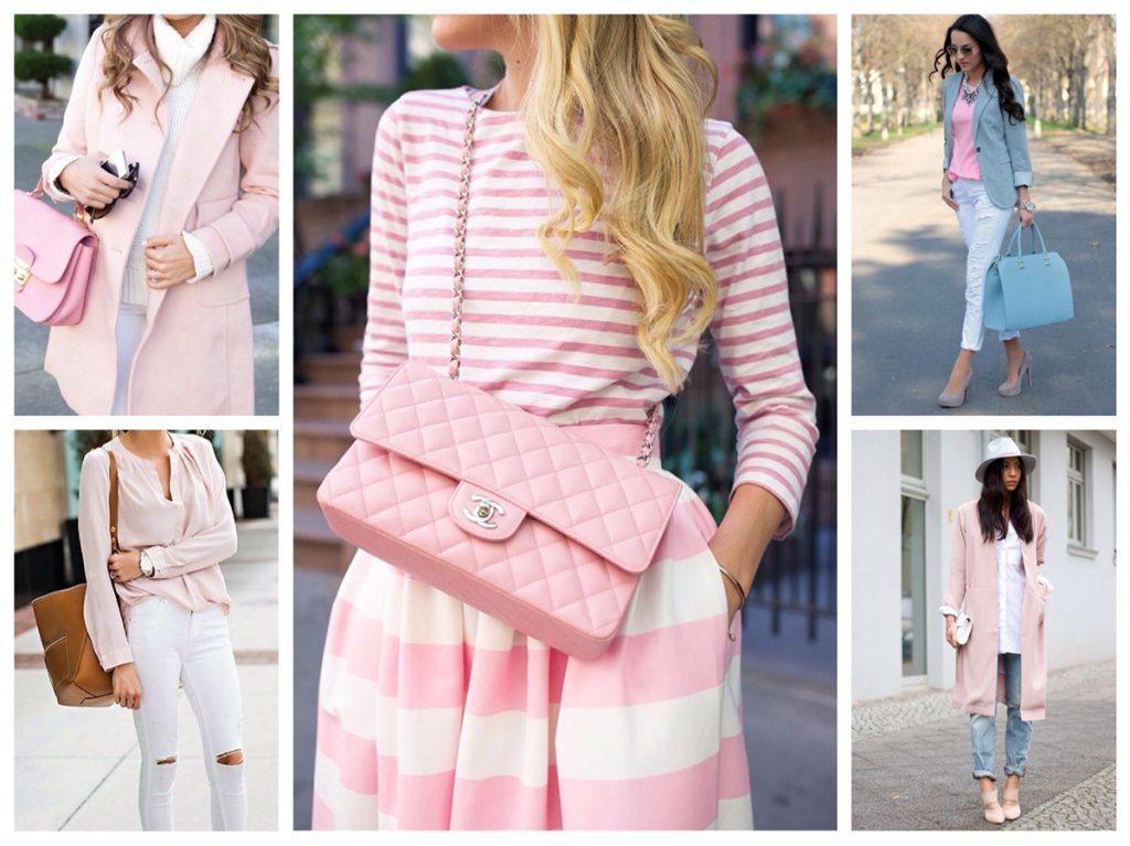 Сочетание нежно-розового и белого цветов в одежде