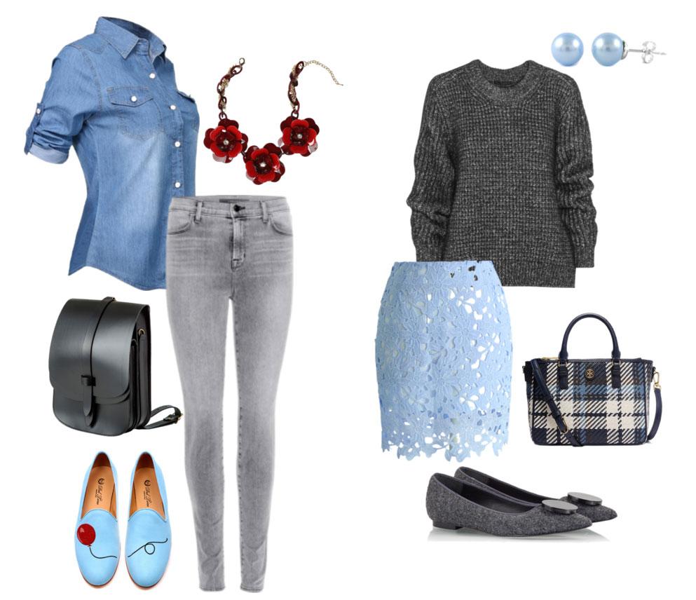 Серый, синий и голубой цвета в одежде