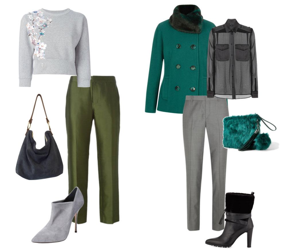 Серый и зеленый цвета в одежде