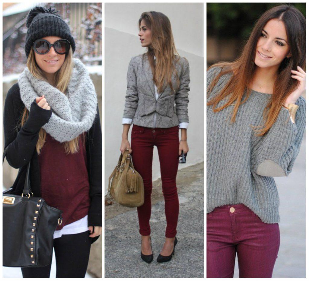 Серый и бордовый цвета в одежде