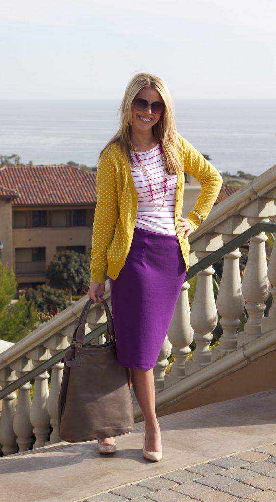Сиреневый и желтый цвета в одежде