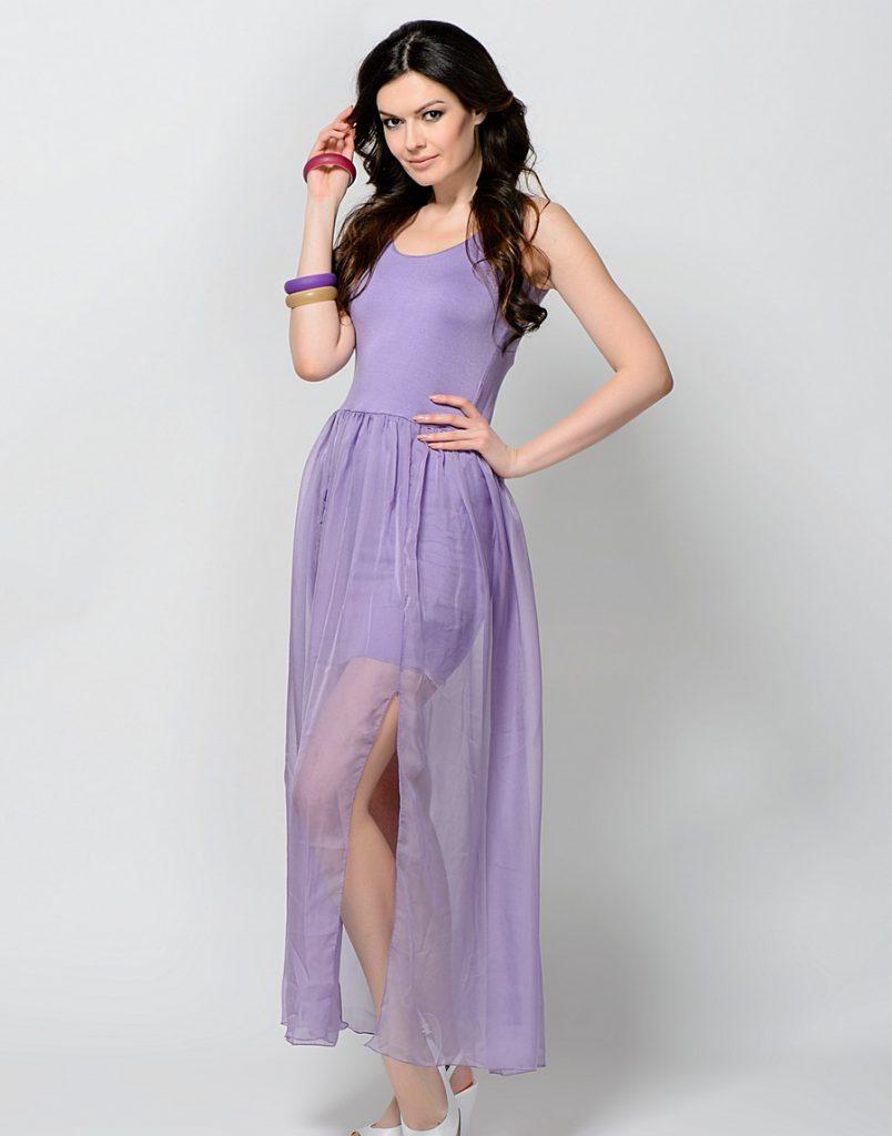 Летнее сиреневое платье