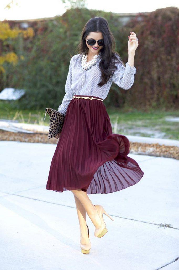 Сливовая юбка плиссе