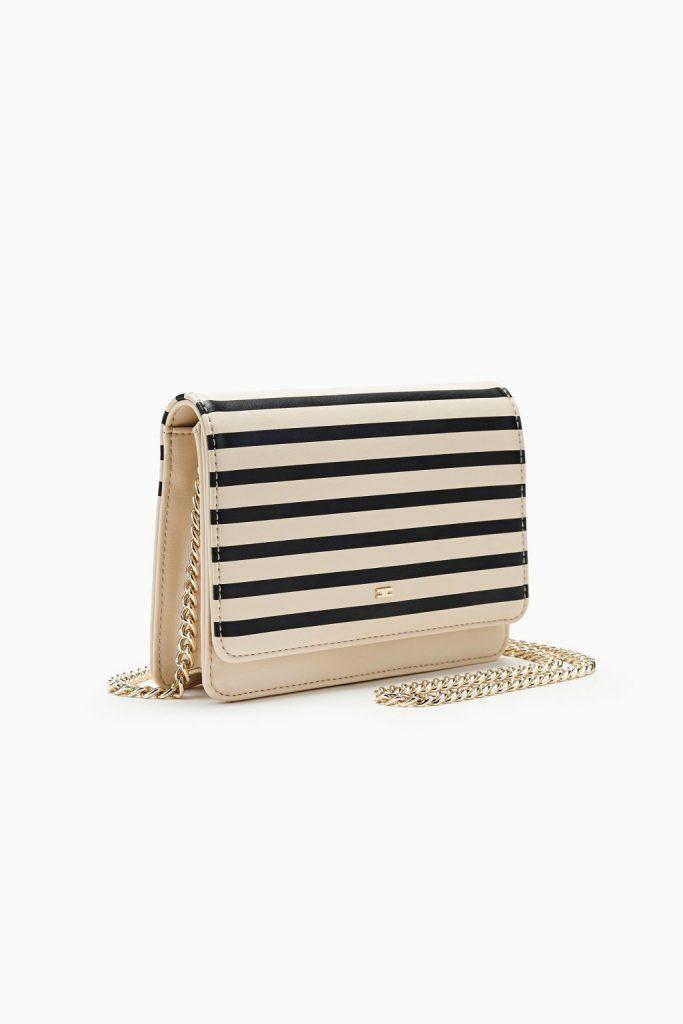 Бежево-черная маленькая полосатая сумочка