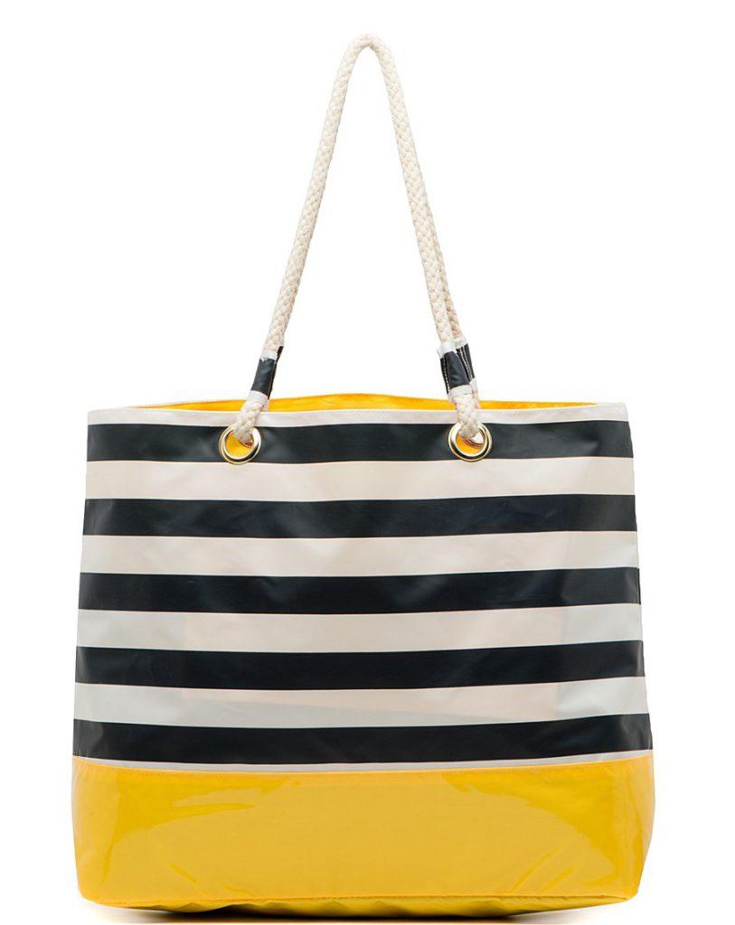 Полосатая стильная сумка с желтым акцентом