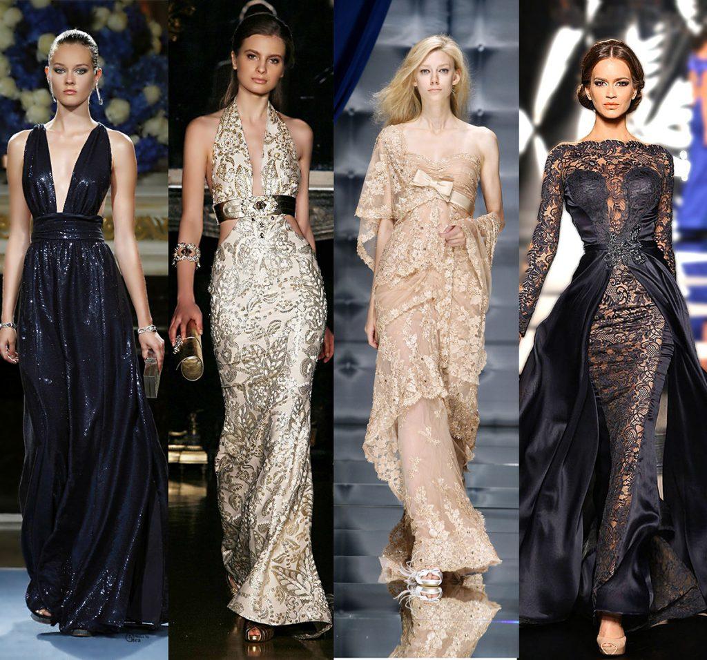 Черные и бежевые платья на Новый год