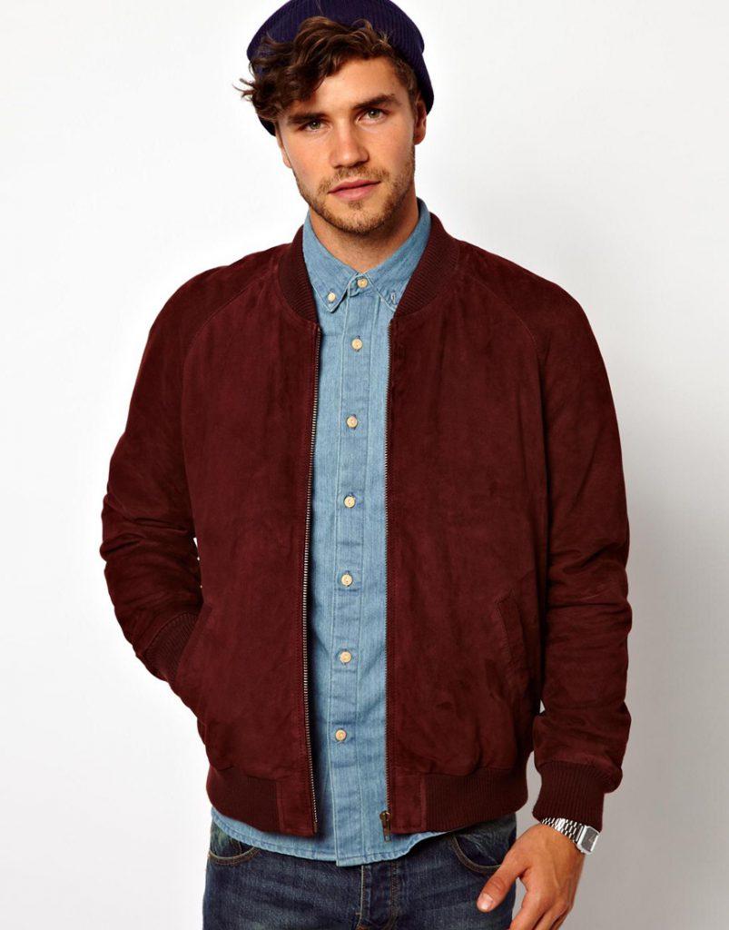 Красная мужская замшевая куртка