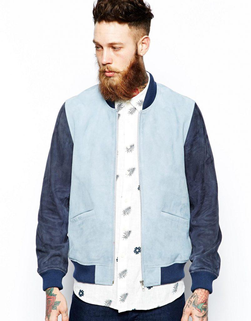 Сине-голубая мужская замшевая куртка