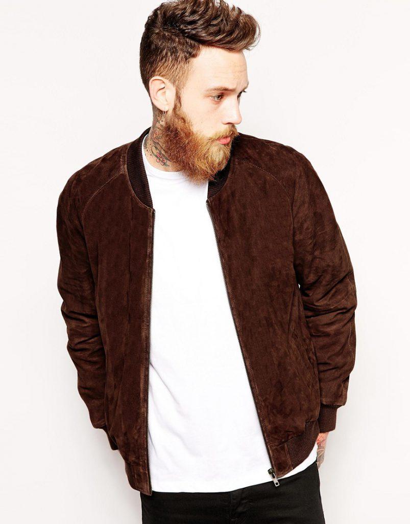 Коричневая мужская куртка из замши