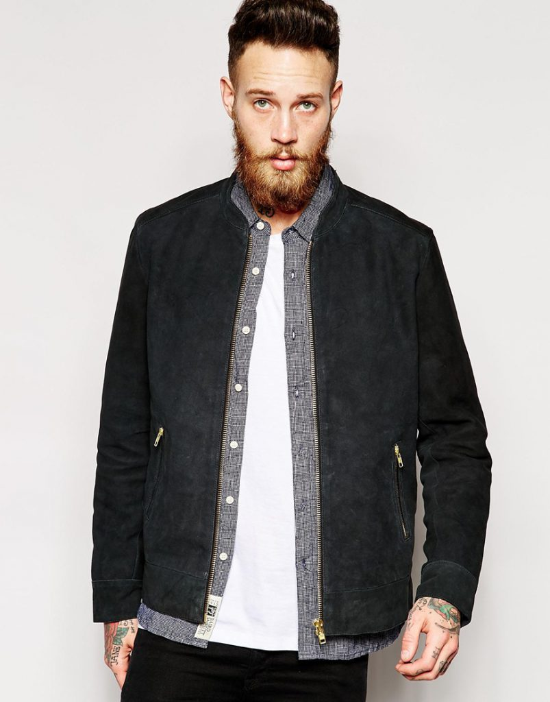Черная фактурная мужская куртка из замши