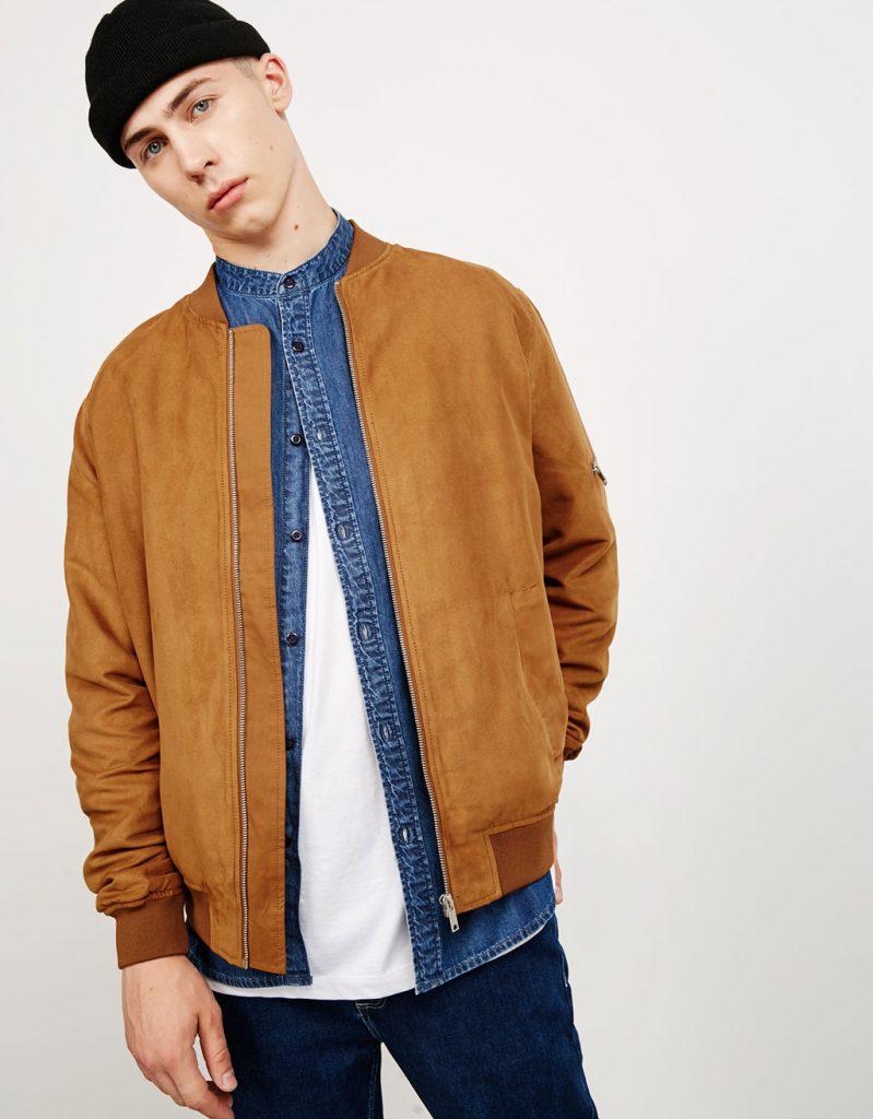 Песочная мужская куртка из замши