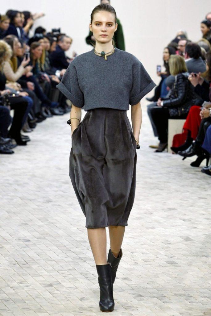 Серая бархатная юбка миди с серым верхом