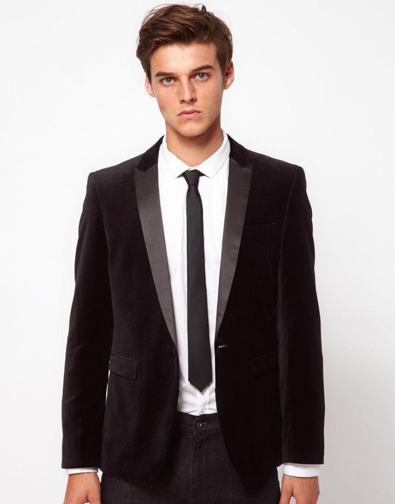 Черный мужской бархатный пиджак