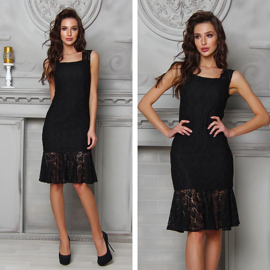 Черное вечернее платье в бельевом стиле