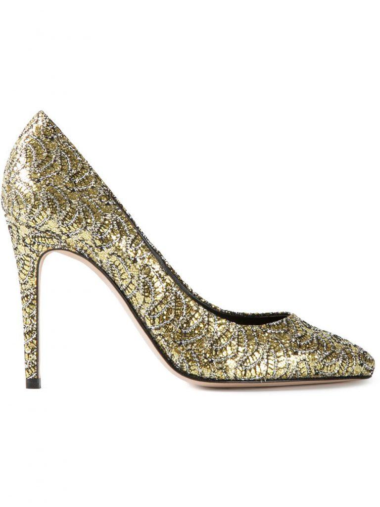 Блестящие туфли под золото