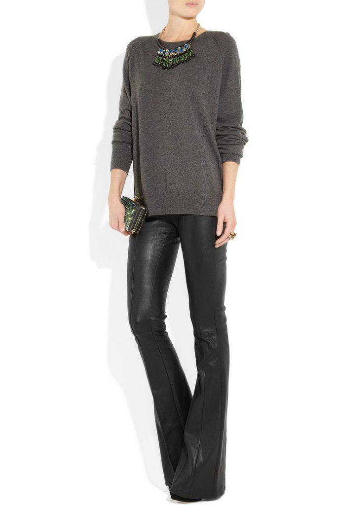 Кожаные черные брюки клеш