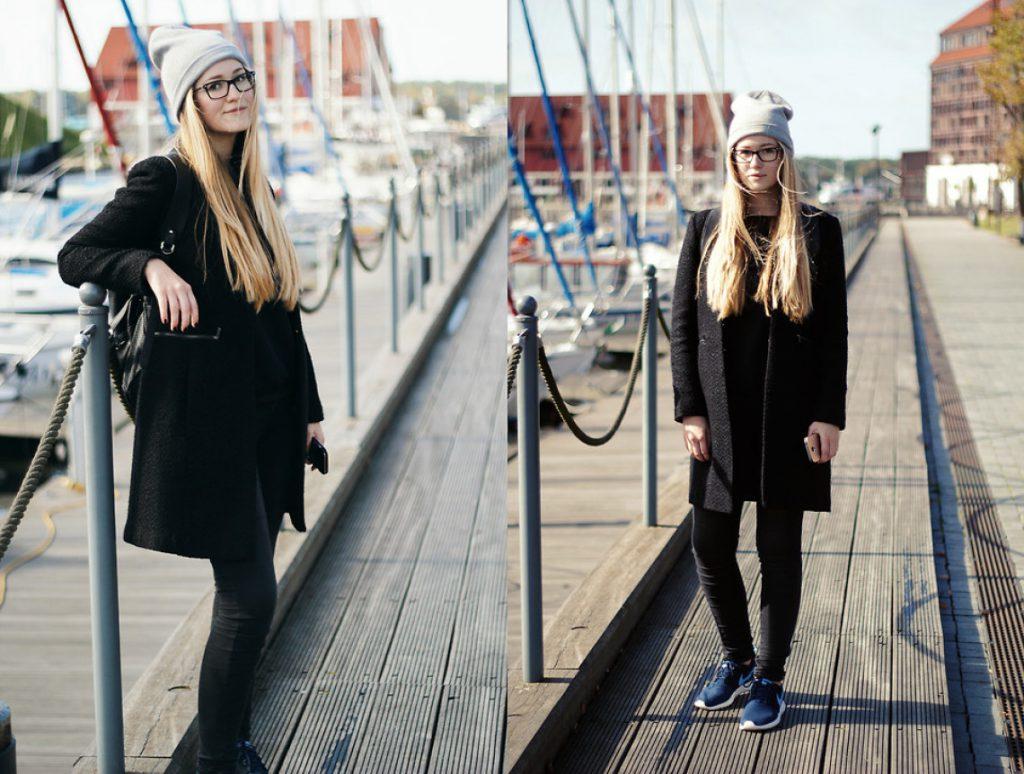 Уличный образ с черным пальто
