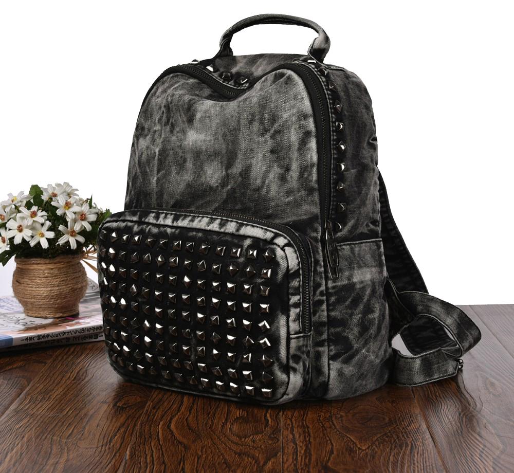 Черный джинсовый рюкзак с заклепками