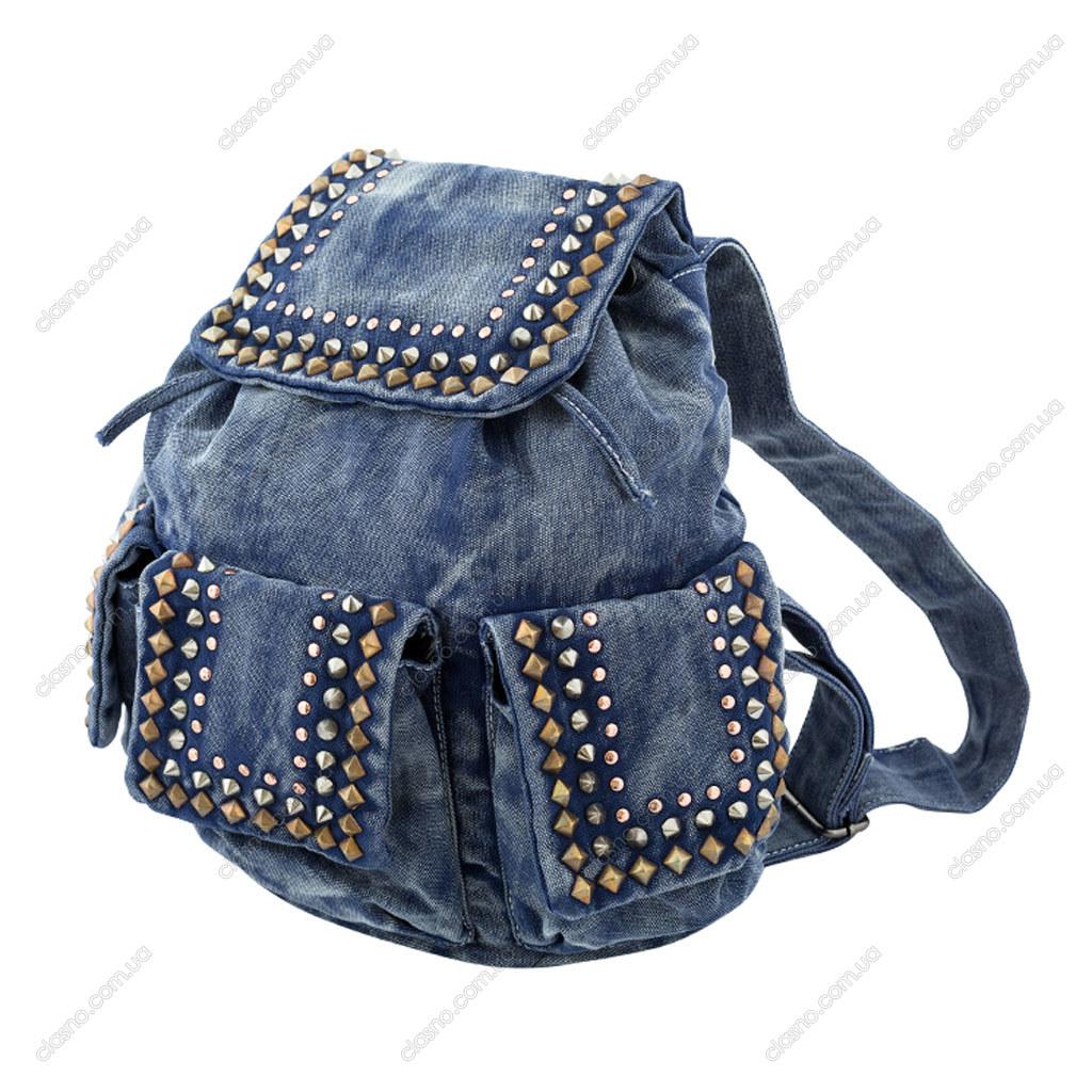 Модная джинсовая сумка рюкзак