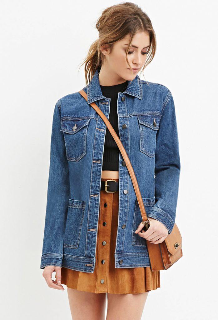 Короткий джинсовый кардиган с юбкой