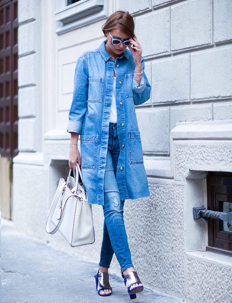 Джинсовый кардиган с джинсами