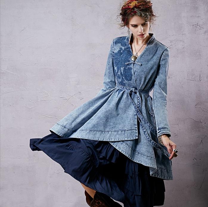 Джинсовый кардиган с платьем