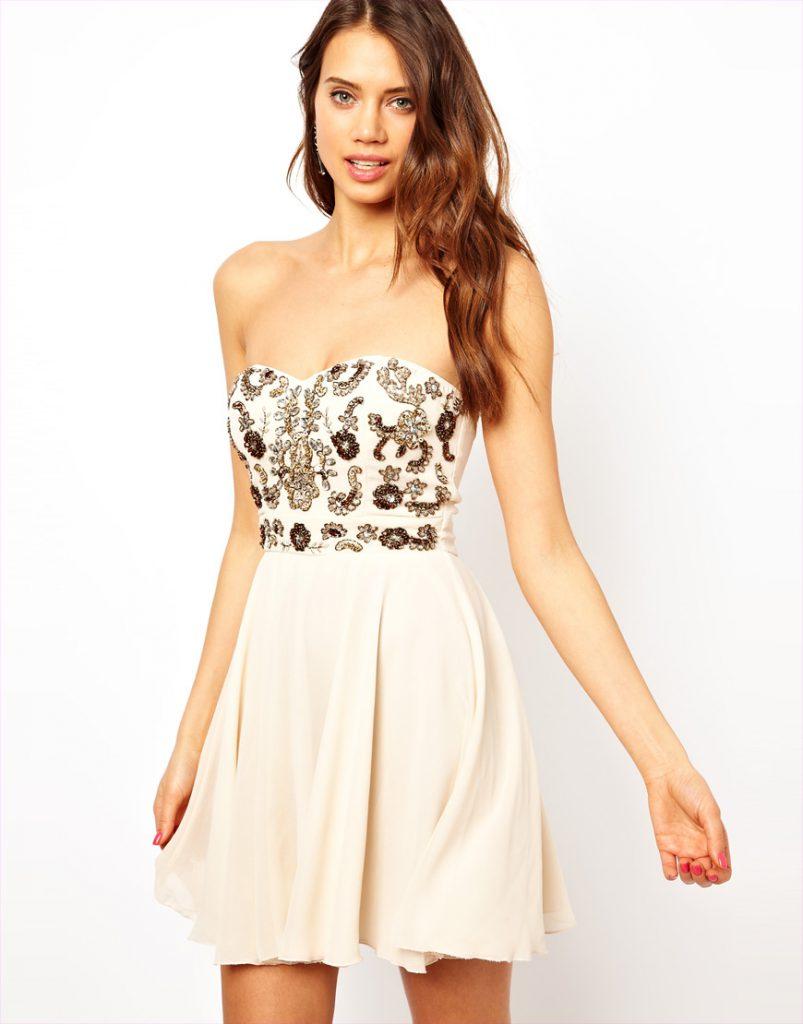 Украшение белого платья вышивкой и кристаллами