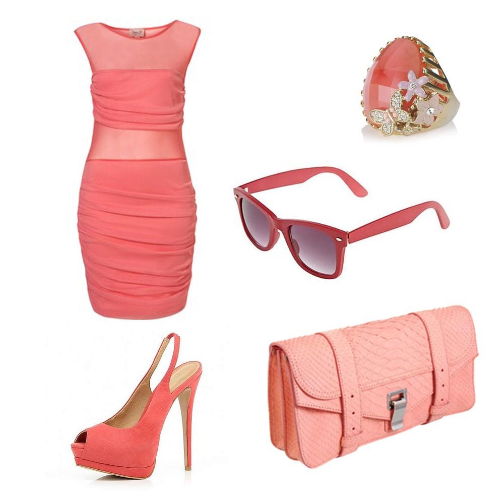 Вариант сочетания коралловой одежды