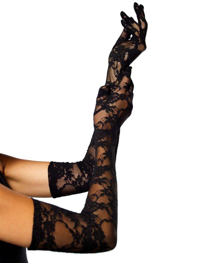 Длинные черные кружевные перчатки