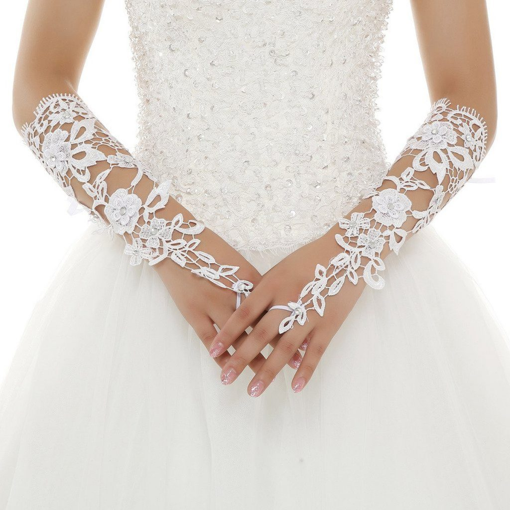 Белые свадебные кружевные перчатки из полиэстера