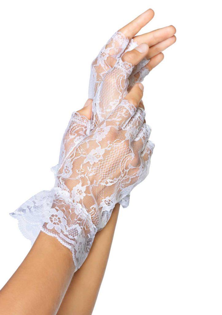 Белые кружевные перчатки без пальцев