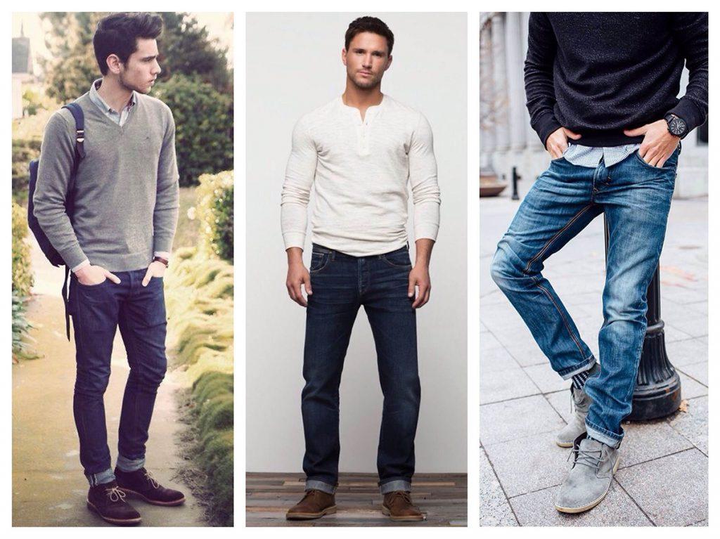 Замшевые мужские полусапоги с джинсами
