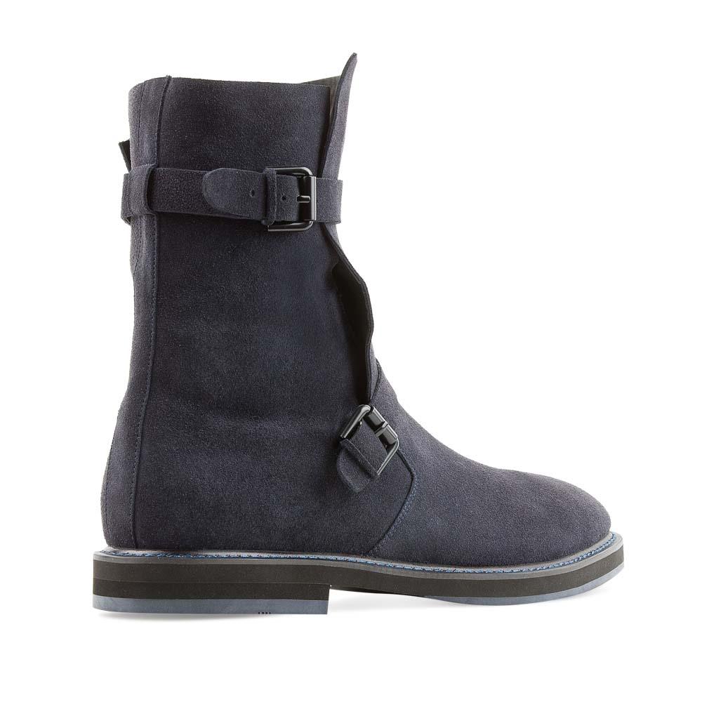 Модные черные замшевые мужские сапоги
