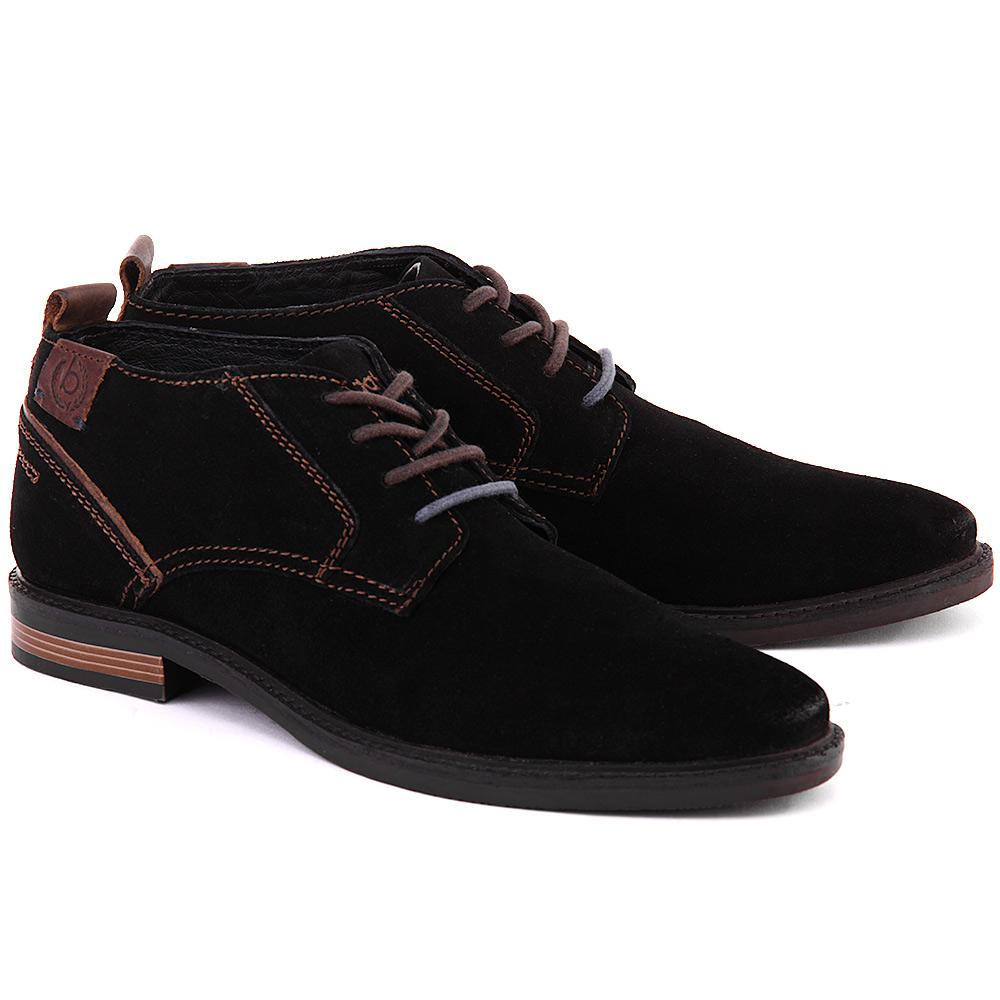 Модные черные замшевые мужские полусапоги