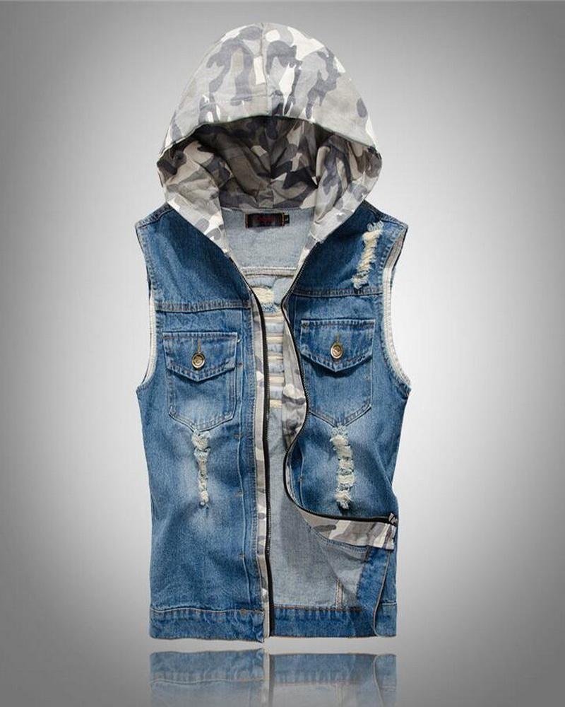 Мужской джинсовый жилет с капюшоном
