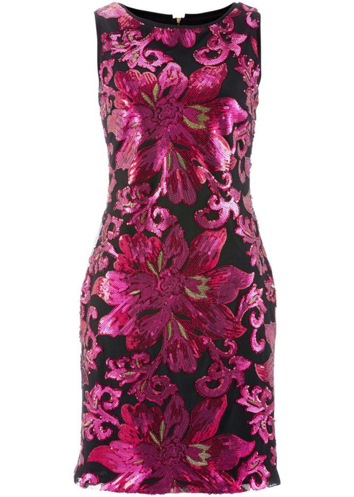 Черно-розовое платье с пайетками