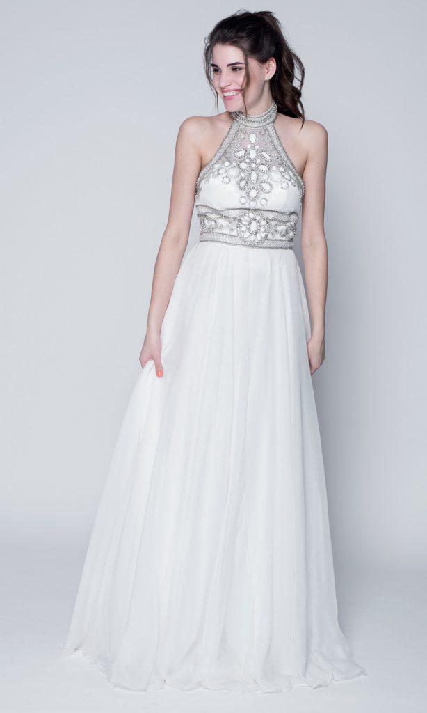 Красивое белое свадебное платье с камнями
