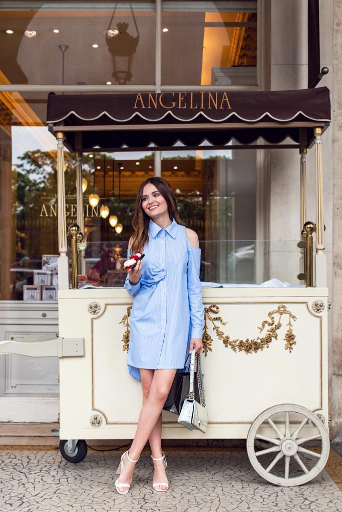 Полосатая рубашка-платье с открытыми плечами