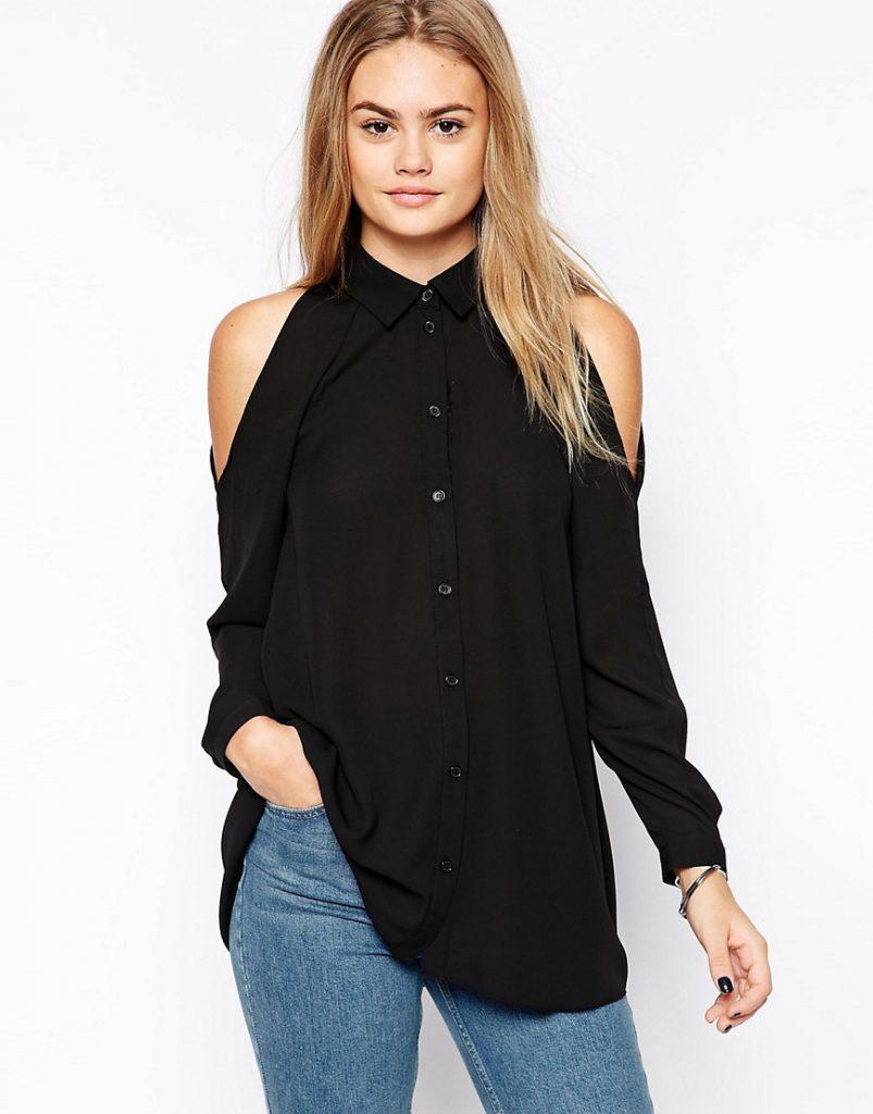 Черная стильная рубашка с открытыми плечами