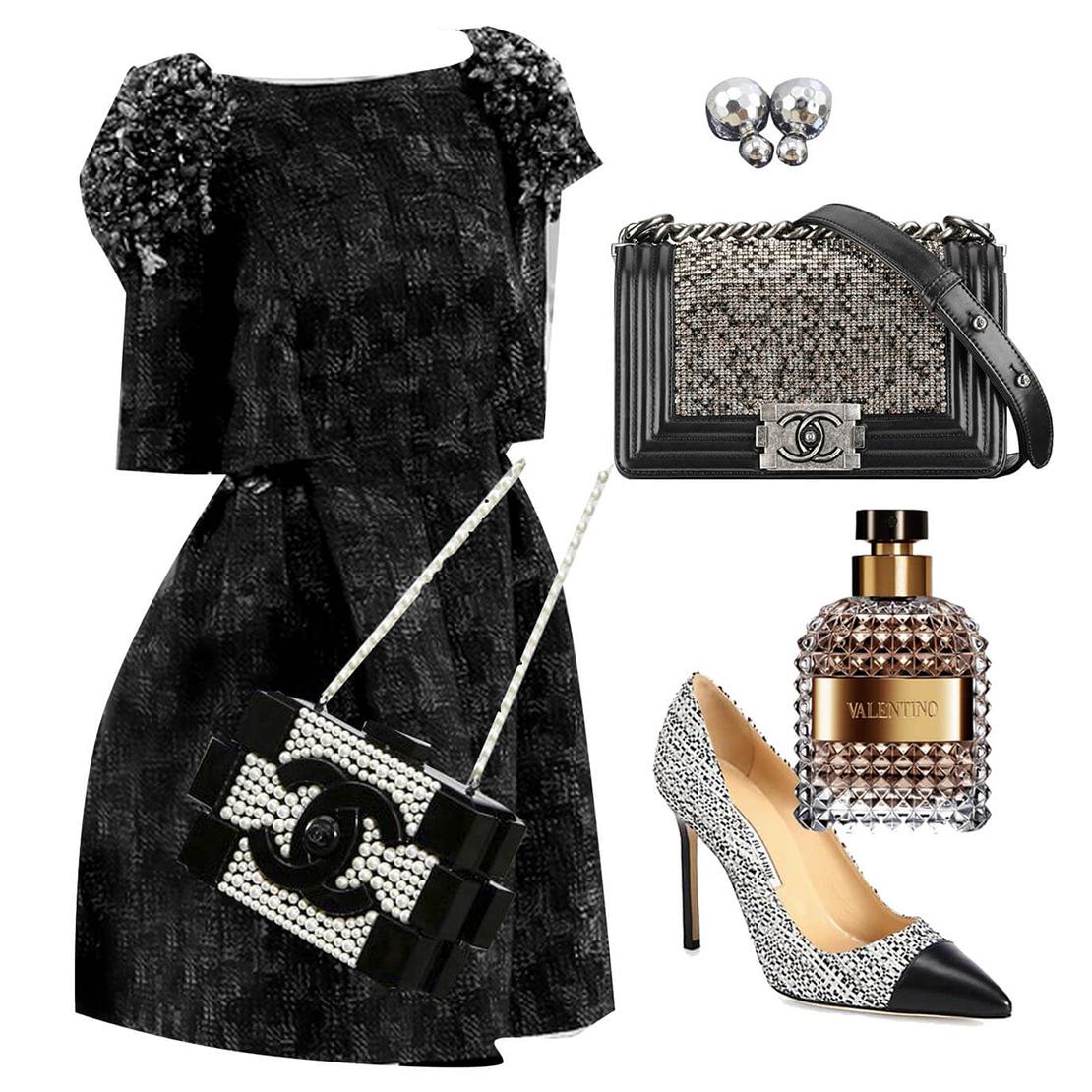 Серебряные туфли с черным платьем