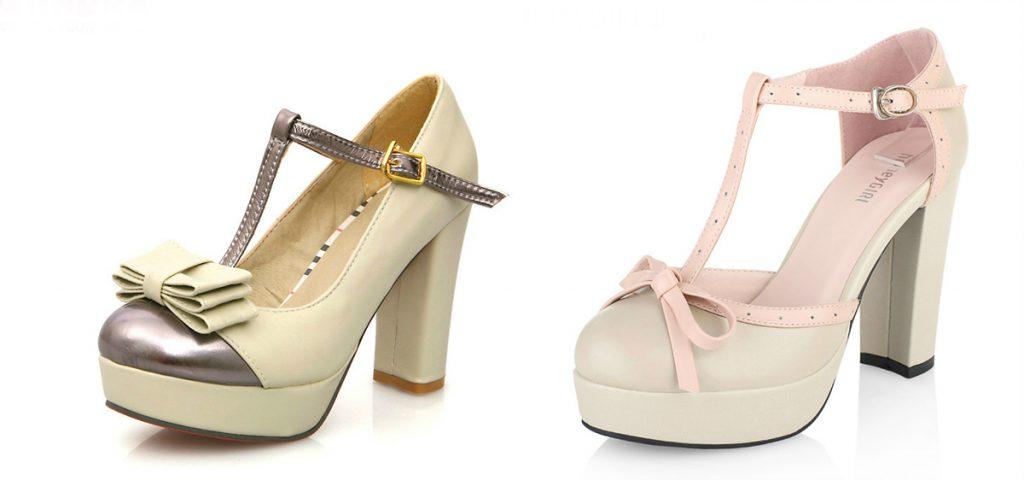 Модные туфли с круглым носом на толстом каблуке
