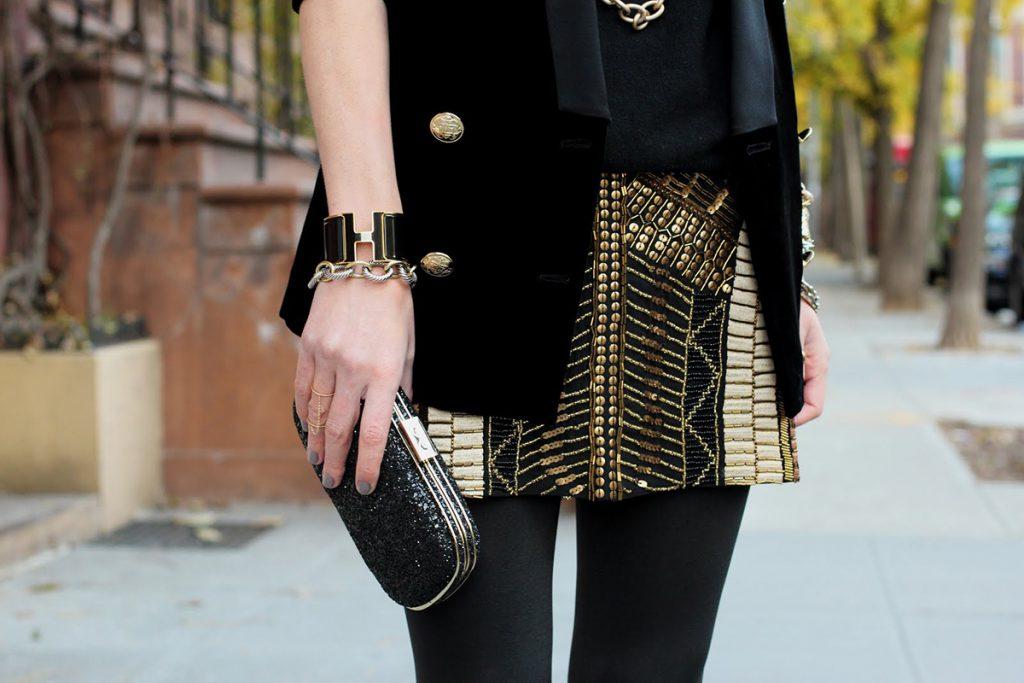 Золотисто-черная юбка с пайетками