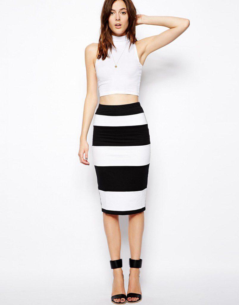 Облегающая юбка в широкую полоску