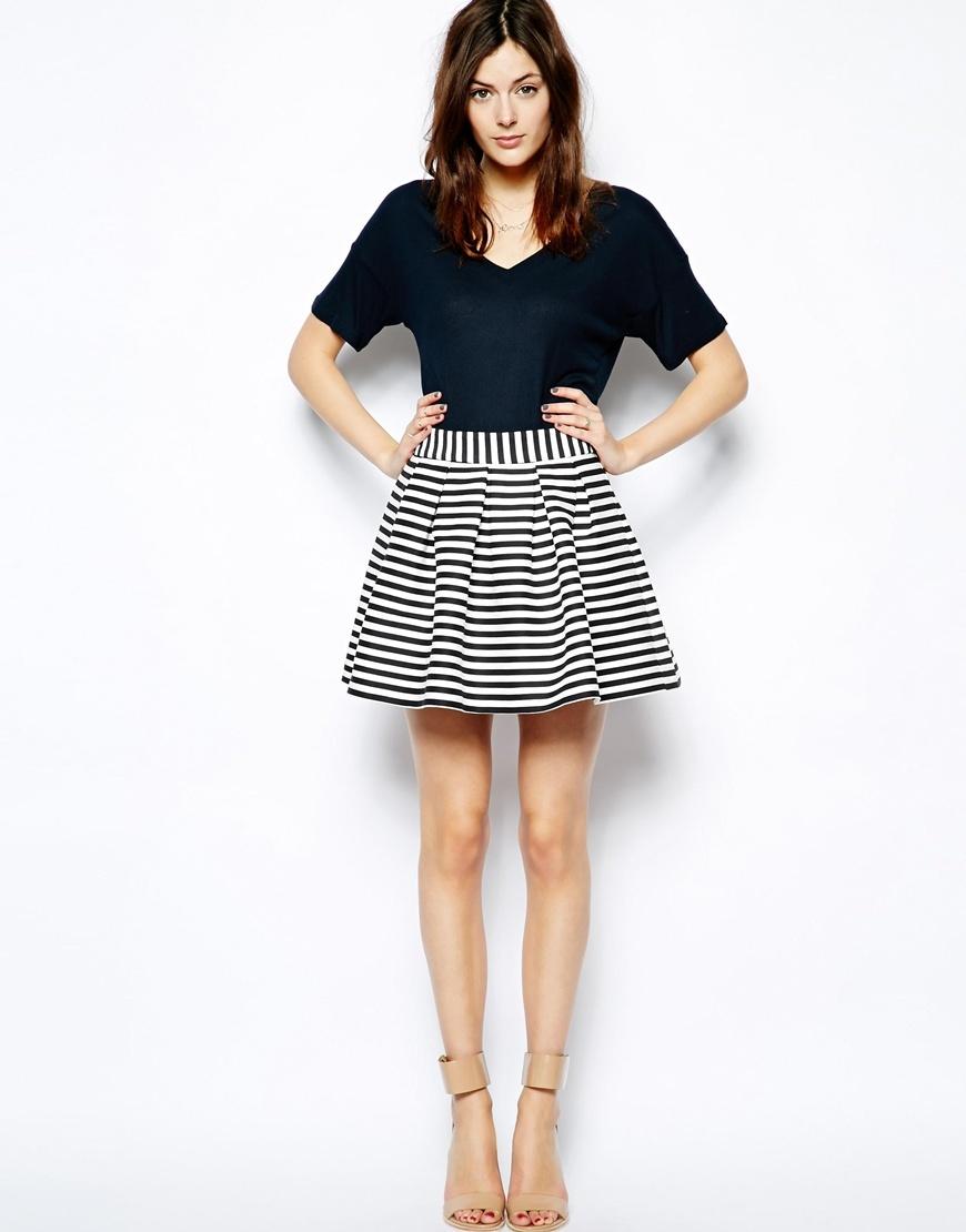 Модели юбки из ткани в полоску