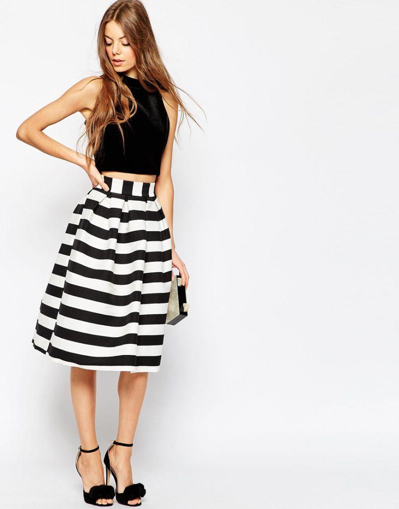 Объемная юбка миди в полоску с черным верхом