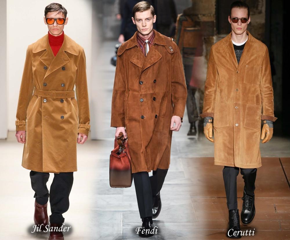 Модные мужские замшевые пальто