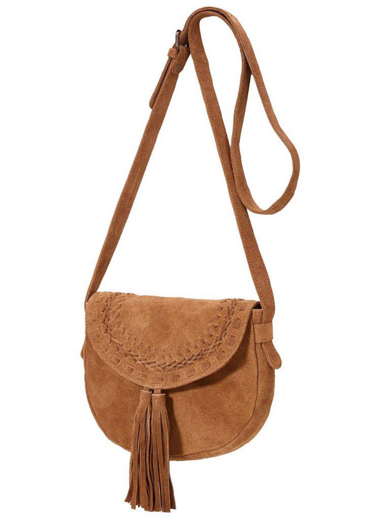 Небольшая коричневая замшевая сумка