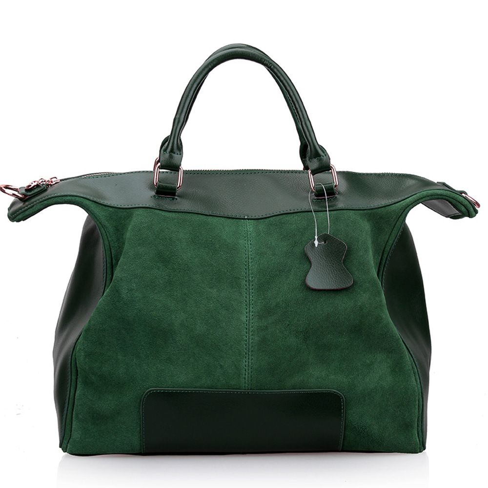Большая зеленая замшевая сумка