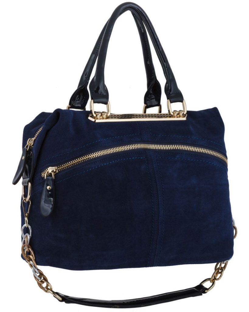 Модная синяя замшевая сумка